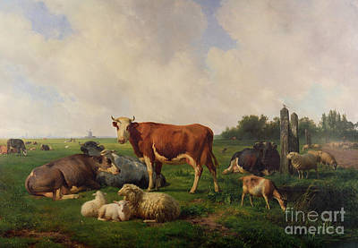 English Horse Painting - Animals Grazing In A Meadow  by Hendrikus van de Sende Baachyssun
