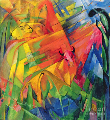 1916 Painting - Animals In A Landscape by Franz Marc