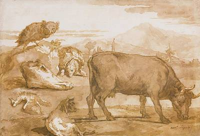 Cow Skull Painting - Animals In A Landscape by Giovanni Domenico Tiepolo
