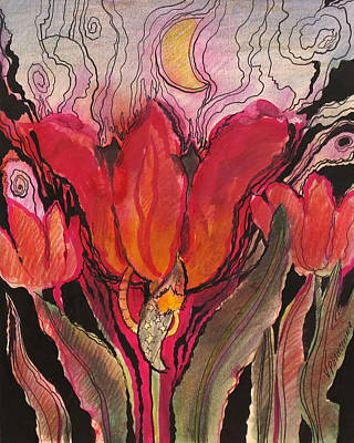 Animals In The Tulip Art Print