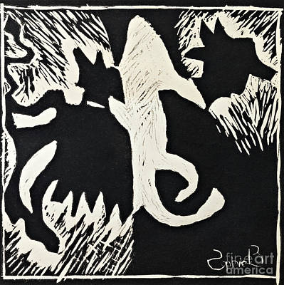 Animals Lino Cut Print Art Print