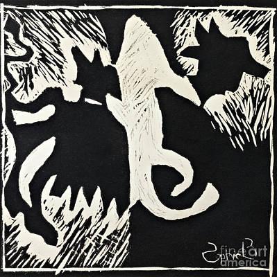 Animals Lino Cut Print Original