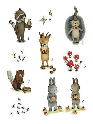 Kids Wall Art Drawing - Animals Numbers - Numbers Poster Set - Educational Posters - Nursery Wall Art - Nursery Decor - Nurs by Paola Zakimi