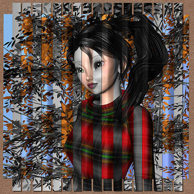 Digital Art - Anime Girl In Autumn by Judi Suni Hall