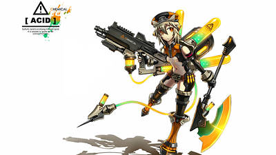 Biochemical Digital Art - Anime Girls Girl With Biochemical Weapons                 by F S
