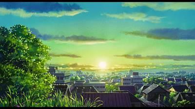 City Sunset Digital Art - Anime Scenery Anime City Sunset                  by F S