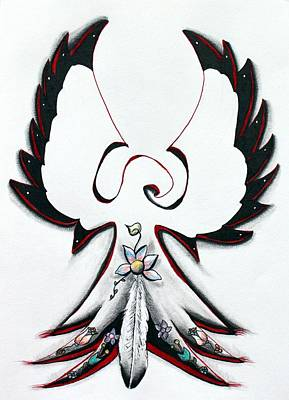 Drawing - Anishinaabe Thunderbird by Ayasha Loya