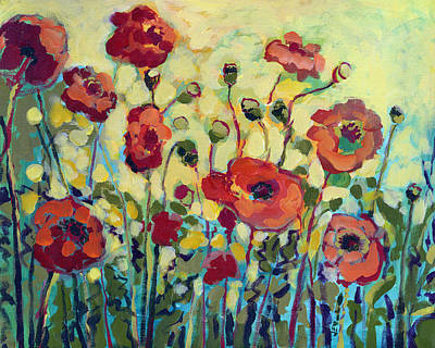 Green Painting - Anitas Poppies by Jennifer Lommers