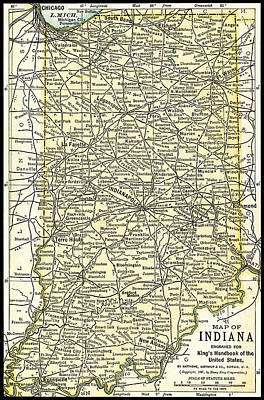 Photograph - Indiana Antique Map 1891 by Phil Cardamone