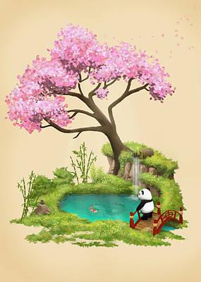 Koi Digital Art - Anjing II - The Zen Garden by Carlos M R Alves