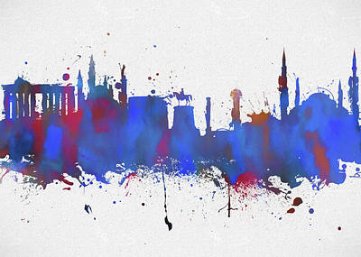 Painting - Ankara Colorful Skyline by Dan Sproul