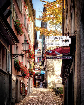 Print featuring the photograph Ankengasse Street Zurich by Jim Hill