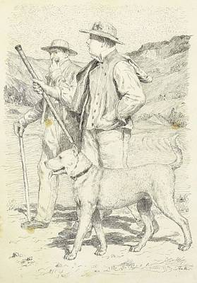 Comedian Drawings - ANKER, ALBERT 1831 Ins 1910 Two hikers with dog. by Anker Albert