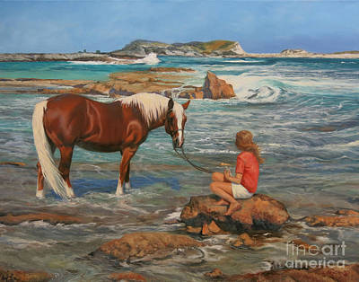 Horse And Rider Painting - Ankle Deep by Jeanne Newton Schoborg