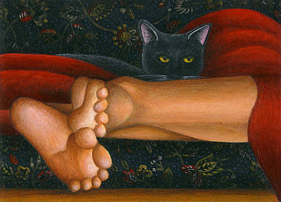 Ankle View With Cat Art Print by Carol Wilson