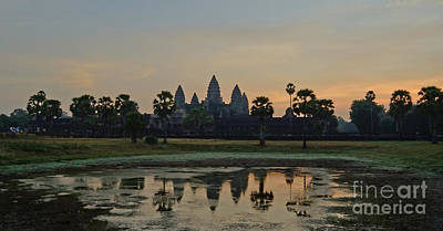 Photograph - Angkor Wat Sunrise Pond by Tom Wurl