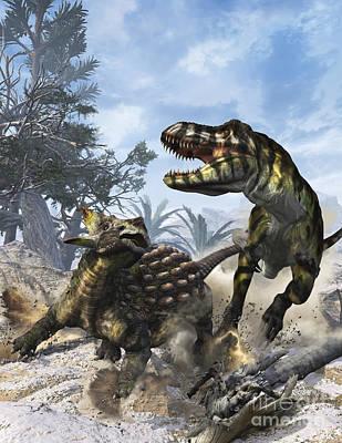 Ankylosaurus Hits Tyrannosaurus Rex Print by Kurt Miller
