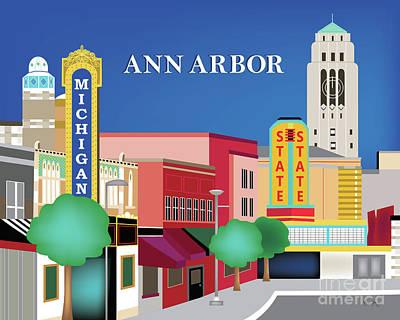 Street Scene Digital Art - Ann Arbor Michigan Horizontal Scene by Karen Young