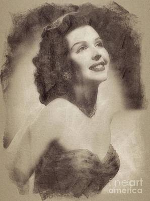 Musicians Drawings Rights Managed Images - Ann Miller, Vintage Actress by John Springfield Royalty-Free Image by John Springfield