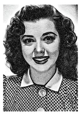Comic Character Paintings - Ann Rutherford, Vintage Actress by JS by Esoterica Art Agency
