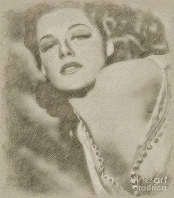 Wizard Drawing - Ann Sheridan Hollywood Actress by Frank Falcon