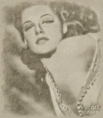 Fantasy Drawings Royalty Free Images - Ann Sheridan Hollywood Actress Royalty-Free Image by Frank Falcon