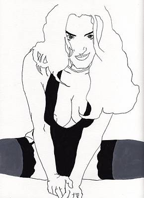 Drawing - Anna-black Stockings by Stephen Panoushek