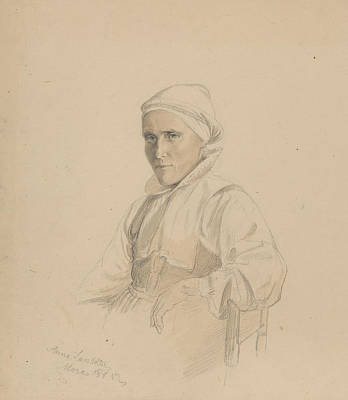 Drawing - Anna Larsdatter, Mora by Adolph Tidemand