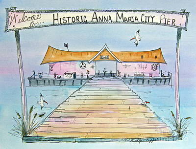 Wall Art - Painting - Anna Maria City Pier by Midge Pippel