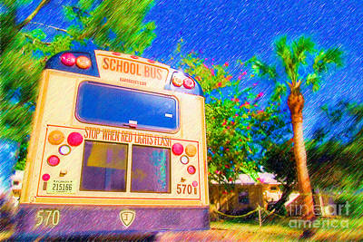 Bus Mixed Media - Anna Maria Elementary School Bus C131270 by Rolf Bertram