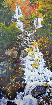 Peter Muzyka Wall Art - Painting - Anna Ruby Falls In Autumn by Peter Muzyka