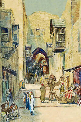 Painting - Anna Rychter May An Alley In Jerusalem by Munir Alawi