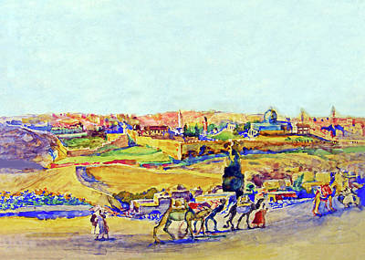 Painting - Anna Rychter May Jerusalem Caravan by Munir Alawi