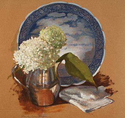 Silver Pitcher Painting - Annabell Hydrangeas And Blue Platter by Brenda Sumpter
