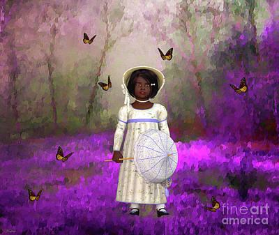 Little Girls Mixed Media - Little Lucille by KaFra Art