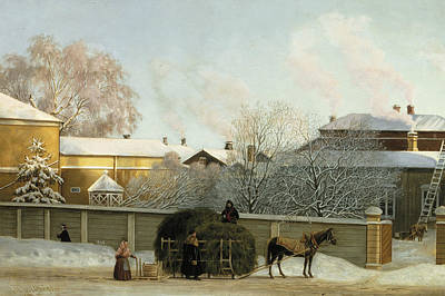 Annankatu On A Cold Winter Morning Art Print by Magnus von Wright