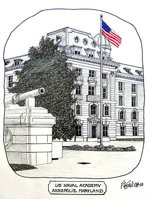 Drawing - Annapolis - Naval Academy by Frederic Kohli