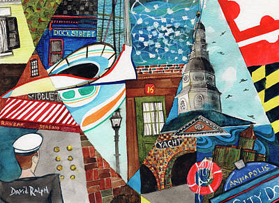 Painting - Annapolis Dock Dine Assemble by David Ralph