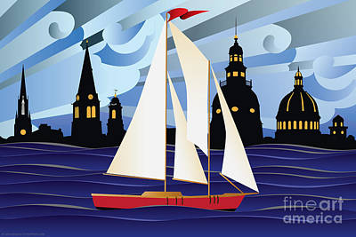 Annapolis Skyline Red Sail Boat Art Print
