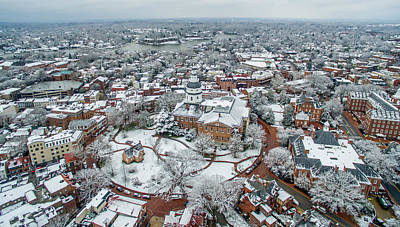 Maryland Photograph - Annapolis State Circle Snow by Mid Atlantic Aerial