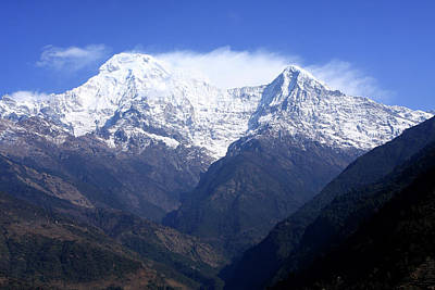 Photograph - Annapurna South And Hiunchuli Mountain Peaks by Aidan Moran
