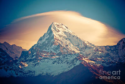Annapurna Sunrise Himalayas Mountains Art Print by Raimond Klavins