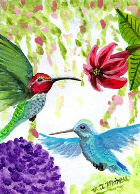 Painting - Anna's Hummingbird Pair by Vicki Maheu