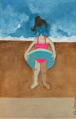 Annatte At The Beach With Bandaids Art Print by Ricky Sencion