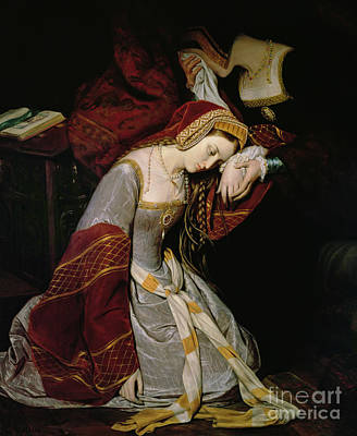 With Painting - Anne Boleyn In The Tower by Edouard Cibot