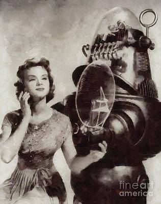 Forbidden Planet Painting - Anne Francis And Robby The Robot From Forbidden Planet by Sarah Kirk