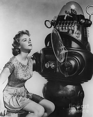 Fantasy Photograph - Anne Francis Movie Sexy Photo Forbidden Planet With Robby The Robot by R Muirhead Art