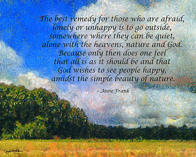 Photograph - Anne Frank Quote Summer by Spyder Webb