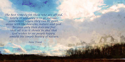 Photograph - Anne Frank Quote Winter by Spyder Webb