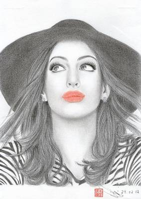Art Print featuring the drawing Anne Hathaway by Eliza Lo
